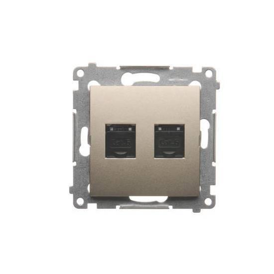 Simon 54 - Gniazdo komputerowe podwójne RJ45 kategoria 6, z przesłoną przeciwkurzową złoty mat, metalizowany - D62.01/44