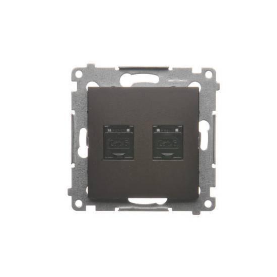 Simon 54 - Gniazdo komputerowe podwójne RJ45 kategoria 6, z przesłoną przeciwkurzową brąz mat, metalizowany - D62.01/46