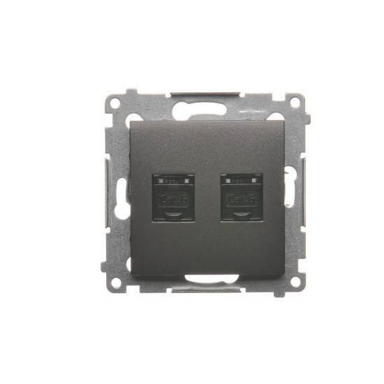 Simon 54 - Gniazdo komputerowe podwójne RJ45 kategoria 6, z przesłoną przeciwkurzową antracyt mat, metalizowany - D62.01/48