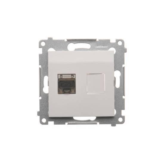 Simon54 - Gniazdo komputerowe pojedyncze ekranowane RJ45 kategoria 6, z przesłoną przeciwkurzową biały - D61E.01/11