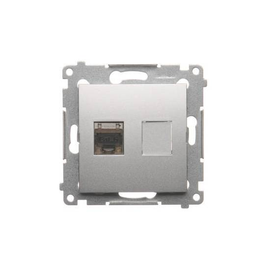 Simon54 - Gniazdo komputerowe poj. ekranowane RJ45 kat. 6, z przesłoną przeciwkurzową srebrny mat, metalizowany - D61E.01/43
