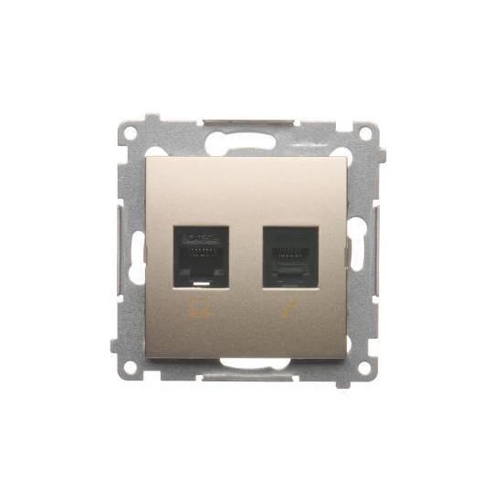 Simon54 - Gniazdo komputerowe RJ45 kategoria 5e + telefoniczne RJ12 złoty mat, metalizowany - D5T.01/43