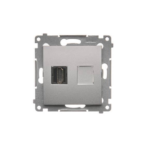 Simon54 - Gniazdo HDMI pojedyncze srebrny mat, metalizowany - DGHDMI.01/43