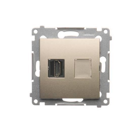 Simon54 - Gniazdo HDMI pojedyncze złoty mat, metalizowany - DGHDMI.01/44