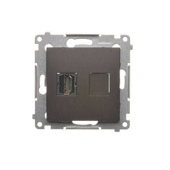 Simon54 - Gniazdo HDMI pojedyncze brąz mat, metalizowany - DGHDMI.01/46