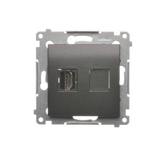 Simon54 - Gniazdo HDMI pojedyncze antracyt, metalizowany - DGHDMI.01/43