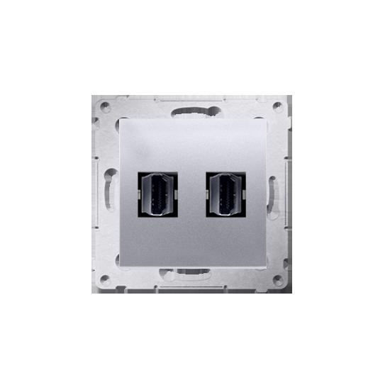 Simon54 - Gniazdo HDMI podwójne srebrny mat, metalizowany - DGHDMI2.01/43