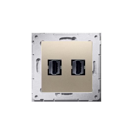 Simon54 - Gniazdo HDMI podwójne złoy mat, metalizowany - DGHDMI2.01/44