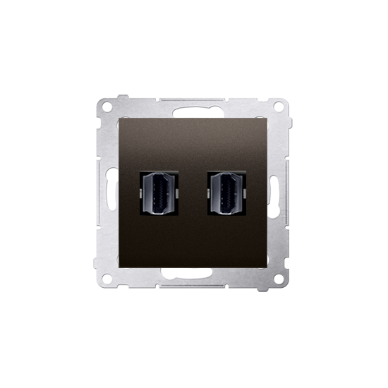 Simon54 - Gniazdo HDMI podwójne brąz mat, metalizowany - DGHDMI2.01/46
