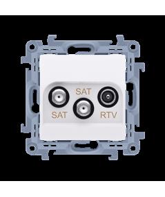Simon10 - Gniazdo antenowe SAT-SAT-RTV satelitarne podwójne tłum.:1dB biały - CASK2.01/11