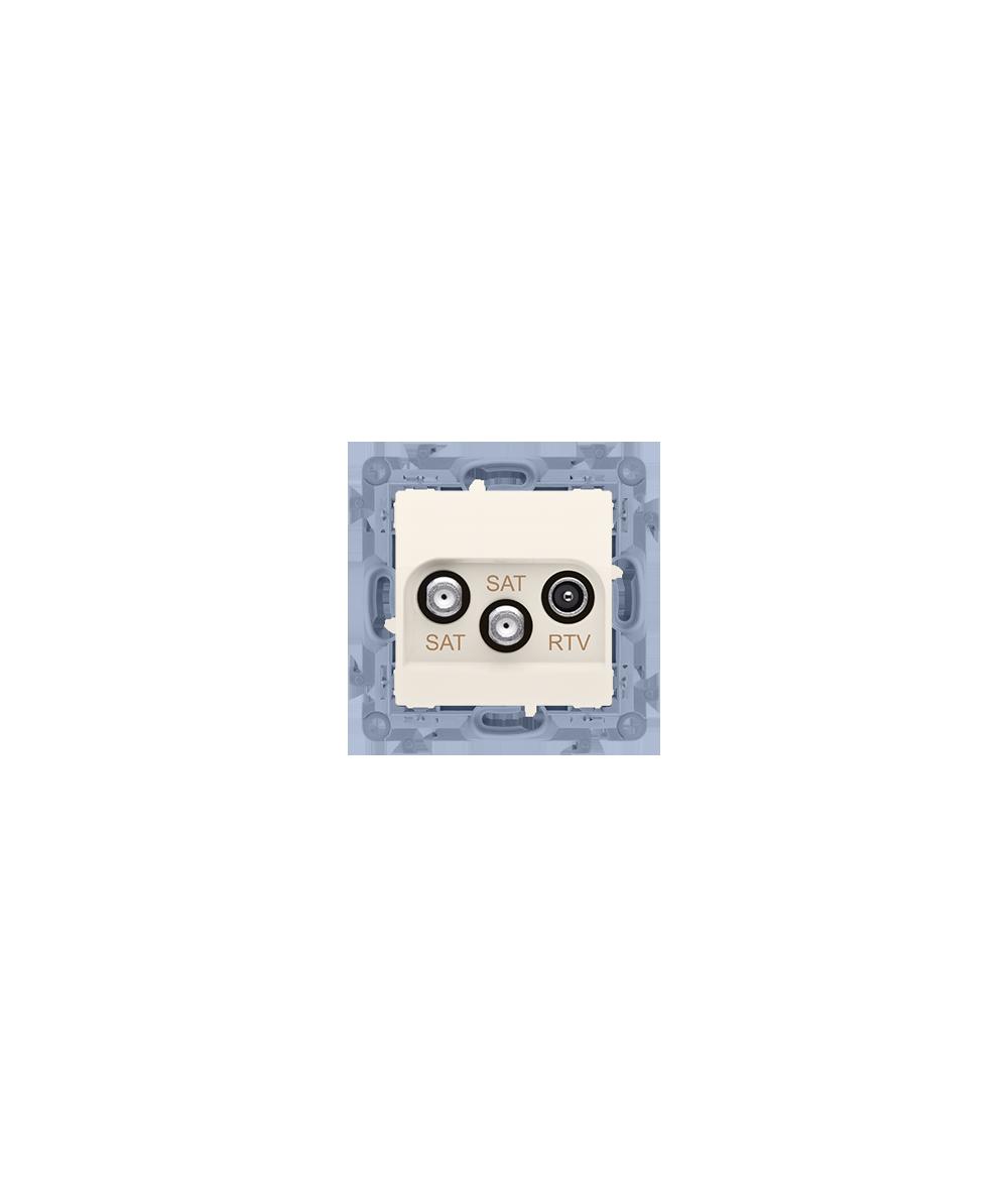 Simon10 - Gniazdo antenowe SAT-SAT-RTV satelitarne podwójne tłum.:1dB kremowy - CASK2.01/41