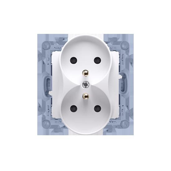 Simon10 - Gniazdo wtyczkowe podwójne z uziemieniem biały 16A - CGZ2M.01/11