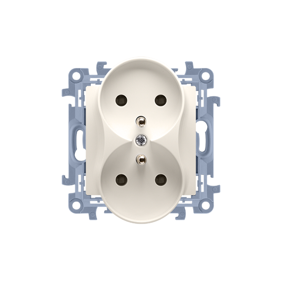 Simon10 - Gniazdo wtyczkowe podwójne z uziemieniem biały 16A - CGZ2M.01/41