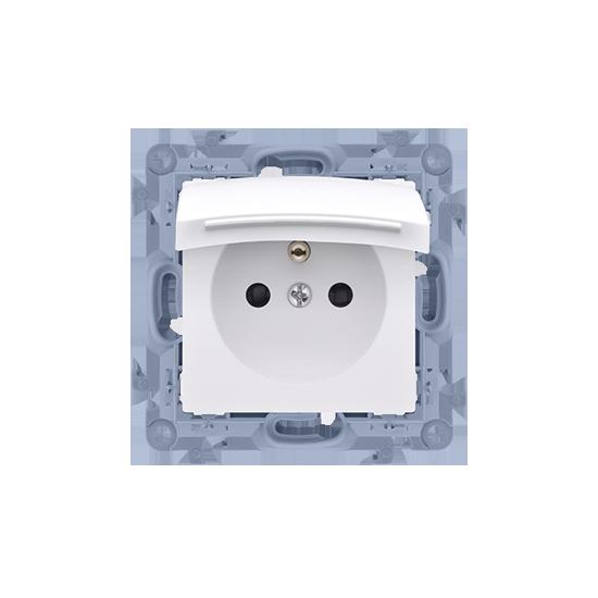 Simon10 - Gniazdo wtyczkowe pojedyncze do wersji IP44 - z uszczelką - klapka w kolorze pokrywy biały 16A - CGZ1B.01/11
