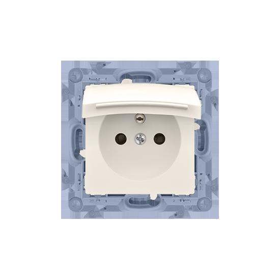 Simon10 - Gniazdo wtyczkowe pojedyncze do wersji IP44 - z uszczelką - klapka w kolorze pokrywy kremowy 16A - CGZ1B.01/41