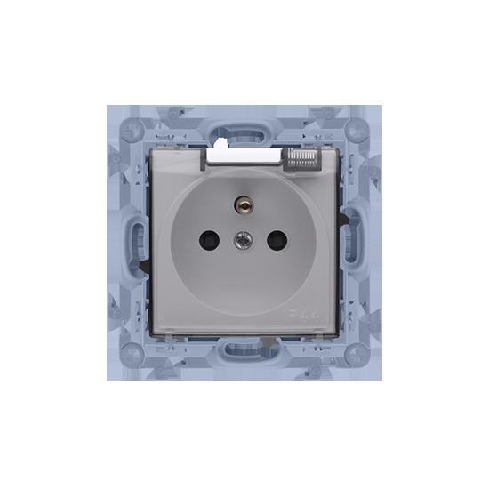 Simon10 - Gniazdo wtyczkowe pojedyncze do wersji IP44 z przesłonami- z uszczelką - klapka transp. biały - CGZ1B.01/11A