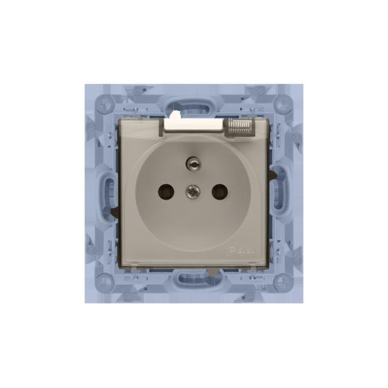 Simon10 - Gniazdo wtyczkowe pojedyncze do wersji IP44 z przesłonami- z uszczelką - klapka transp. kremowy - CGZ1B.01/41A