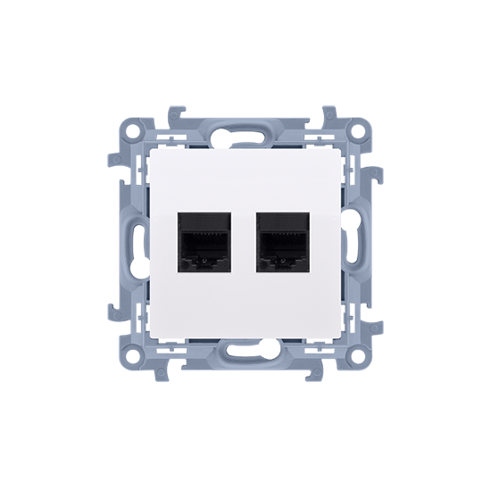 Simon10 - Gniazdo komputerowe podwójne RJ45 kategoria 5e biały - C52.01/11