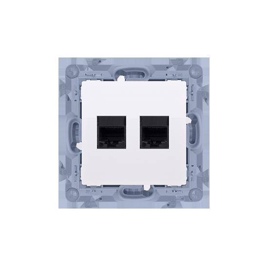Simon10 - Gniazdo komputerowe podwójne RJ45 kategoria 6 biały - C62.01/11