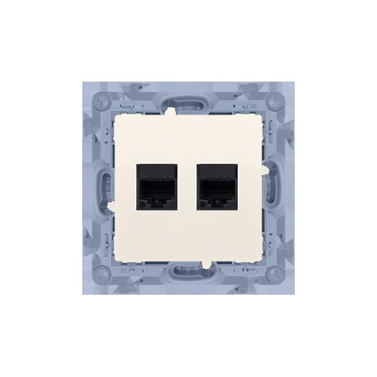 Simon10 - Gniazdo komputerowe podwójne RJ45 kategoria 6 kremowy - C62.01/41