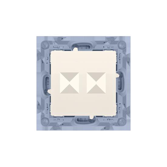 Simon10 - Pokrywa gniazd teleinformatycznych na Keystone płaska podwójna kremowy - CKP2.01/41