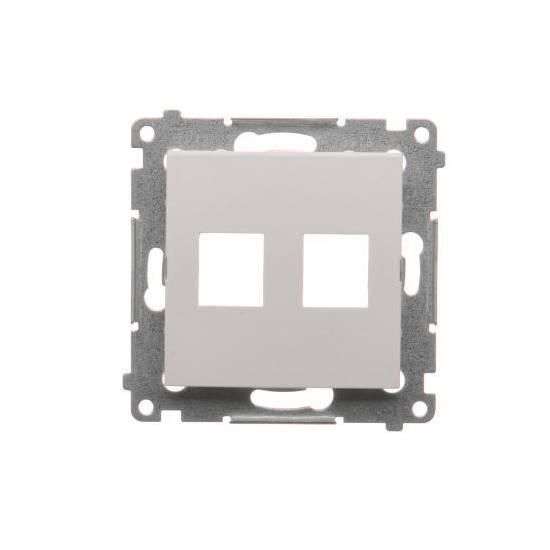 Simon54 - Pokrywa gniazd teleinformatycznych na Keystone płaska podwójna biały - DKP2.01/11