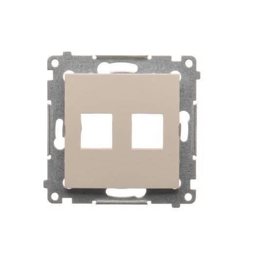 Simon54 - Pokrywa gniazd teleinformatycznych na Keystone płaska podwójna kremowy - DKP2.01/41