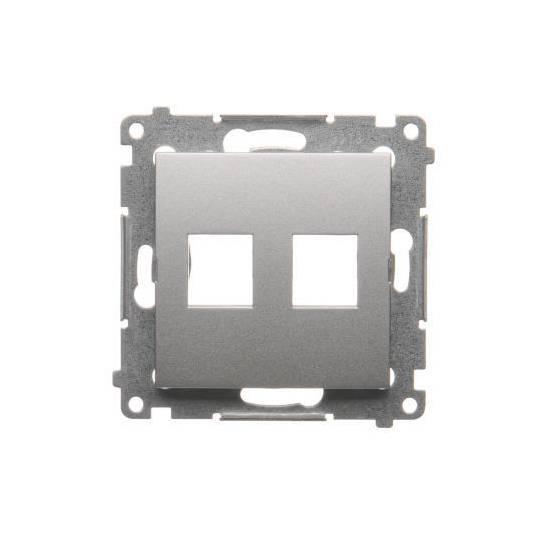 Simon54 - Pokrywa gniazd teleinformatycznych na Keystone płaska podwójna srebrny mat, metalizowany - DKP2.01/43