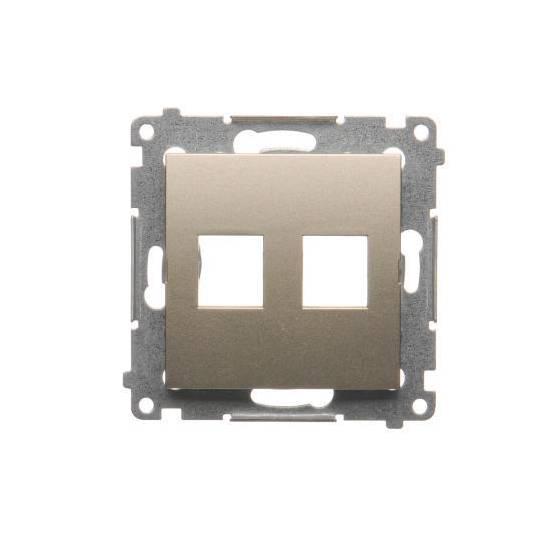 Simon54 - Pokrywa gniazd teleinformatycznych na Keystone płaska podwójna złoty mat, metalizowany - DKP2.01/44