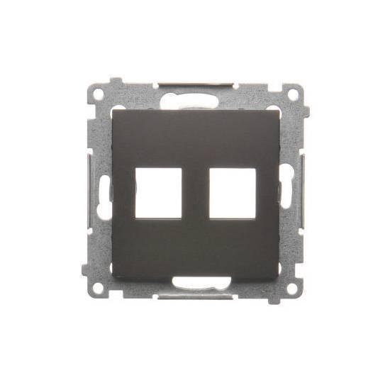 Simon54 - Pokrywa gniazd teleinformatycznych na Keystone płaska podwójna brąz mat, metalizowany - DKP2.01/46