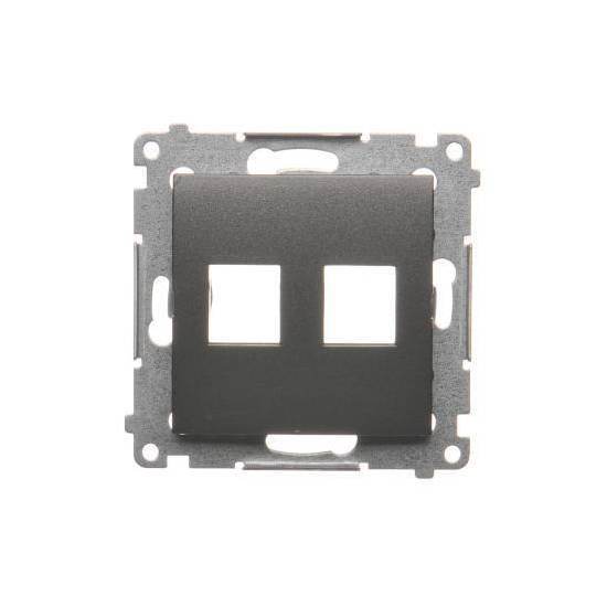 Simon54 - Pokrywa gniazd teleinformatycznych na Keystone płaska podwójna antracyt, metalizowany - DKP2.01/48