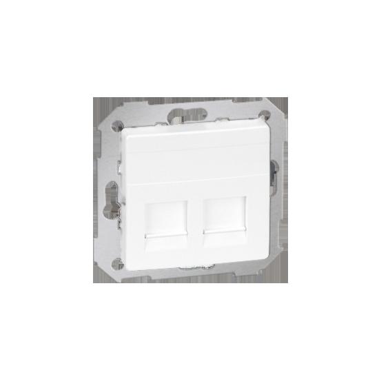 Simon82 - Pokrywa gniazd teleinformatycznych na Keystone płaska podwójna biały - 82006-30