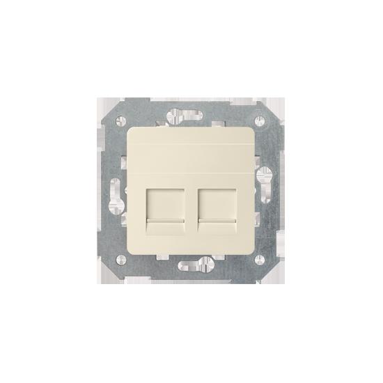 Simon82 - Pokrywa gniazd teleinformatycznych na Keystone płaska podwójna beżowy - 82006-31