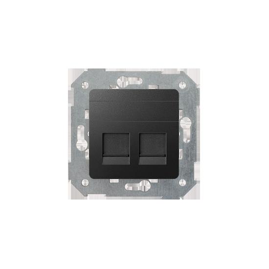 Simon82 - Pokrywa gniazd teleinformatycznych na Keystone płaska podwójna grafit - 82006-38