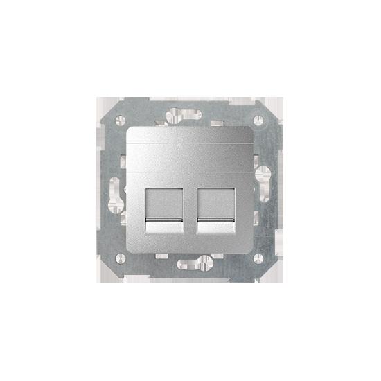 Simon82 - Pokrywa gniazd teleinformatycznych na Keystone płaska podwójna aluminium - 82006-93