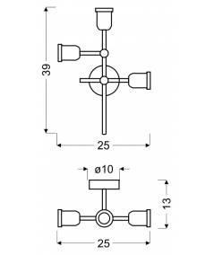 KIRIMU AMPLA 3X60W E27 CZARNY