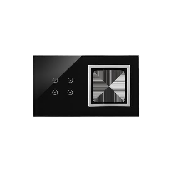 Simon54 – Panel Dotykowy 2 Moduły 4 Pola Dotykowe, Otwór Na Osprzęt Simon 54, Księżycowa Lawa