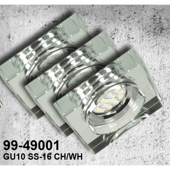 ZESTAW TRZECH OPRAW SS-16 CH/WH  3X3W GU10 LED Z ŻARÓWKĄ  LED CHROM OPR. STROP. STAŁA KWADRATOWA SZKŁO BEZBARWNE