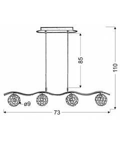 STARLET ZWIS 4X40W G9 CHROM/TRANSPARENT